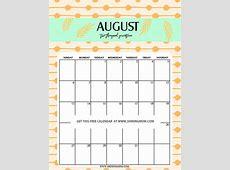 August 2017 Calendar Cute printable 2017 calendars