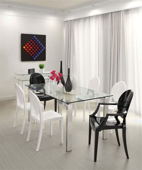 Stainless Steel adn tempered Glass Dining Table Minimalist