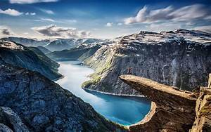 Nature, Landscape, Fjord, Norway, Canyon, Cliff, Snow, Mountain