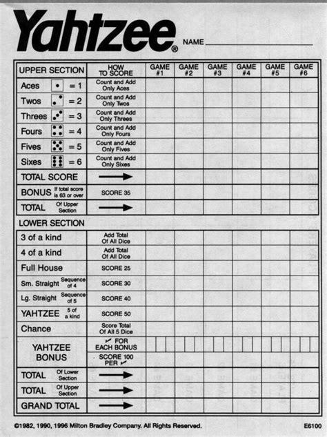 yahtzee score sheets  printable blank yahtzee score