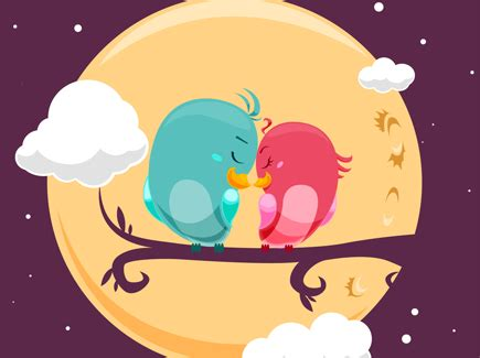 Cute Cartoon Love Birds
