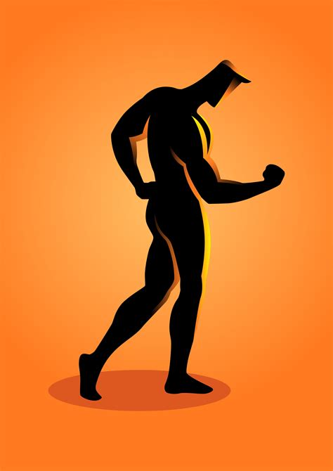 Sport Silhouette Bodybuilder Posing with Arms Down ...