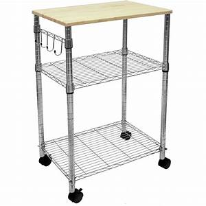 3, Tier, Portable, Rolling, Kitchen, Island, Cart, Cutting, Board, Table, Home, Office, Work