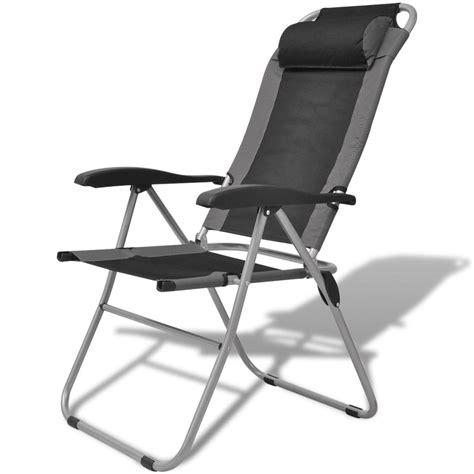 vidaXL Camping Reclining Chair 2 pcs Grey and Black