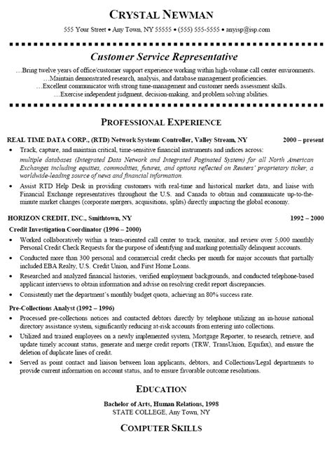customer service representative resume sle berathen