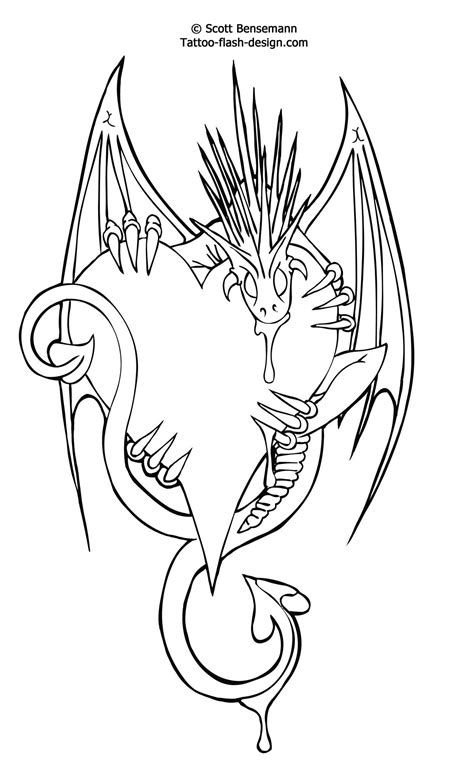 Free Tattoo Flash Love Heart Dragon Design Printable | Castle B-Day Party | Moon tattoo designs