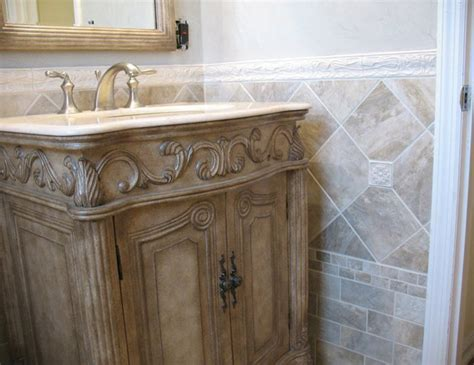 Bathroom With Border Tiles With Model Inspiration