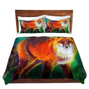 colorful red fox duvet cover bedding set by livelifecolorfully