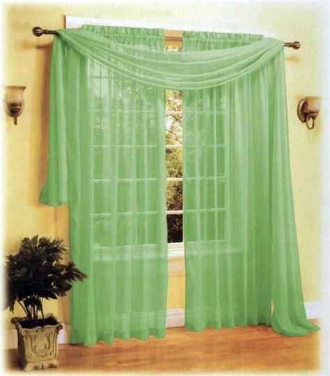 sheer panel voile window curtain scarf set green ebay