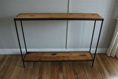 wood metal console table blue lamb furnishings reclaimed wood metal console