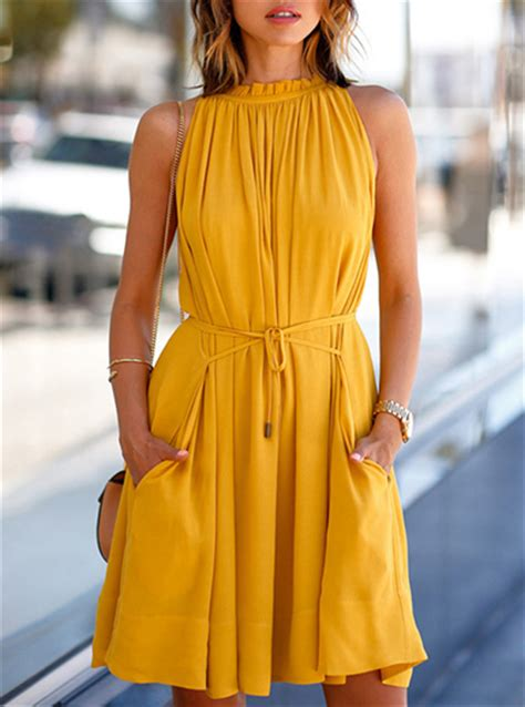 Gathered Casual Dress - Mustard Colored / Belted