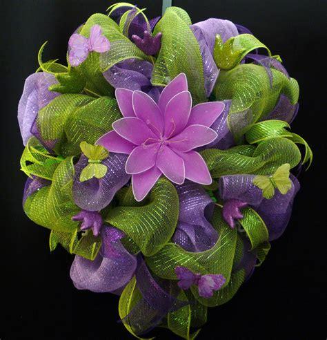 summer wreath poly mesh wreath green purple by wreathsbyrobin