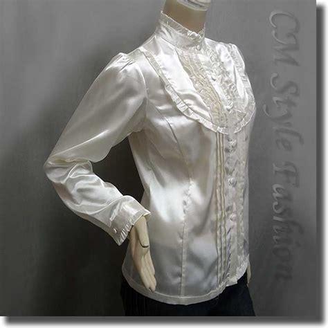 Victorian Style Ruffled Satin Elegant Blouse Shirt Top Cream