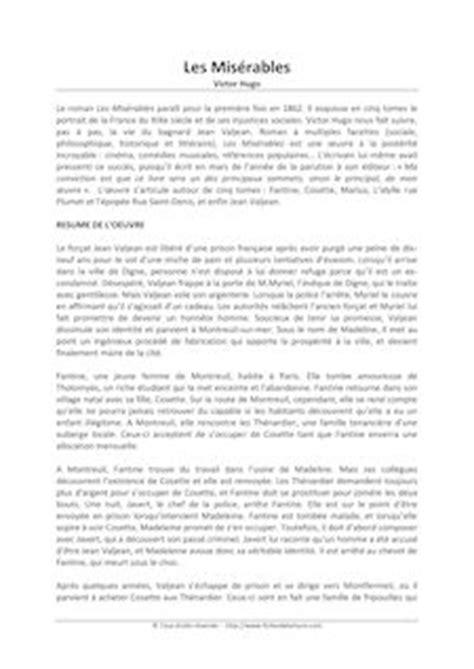 Resume Des Miserables De Victor Hugo Pdf by Les Mis 233 Rables Jean Hugo Fiches De Lecture