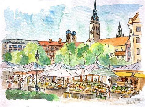 Englischer Garten Zum Viktualienmarkt by Munich Bavaria Viktualienmarkt Market Watercolor
