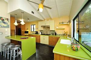 mid century modern kitchen dining contemporary kitchen With kitchen colors with white cabinets with lime green candle holders