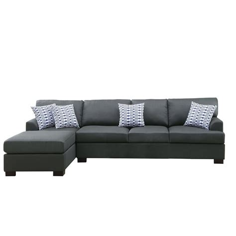 Poundex Reversible Sectional Sofa by Poundex Bobkona Cayden Reversible Sectional Sofa In Slate