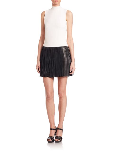 polo ralph lauren fringed leather mini skirt  black lyst