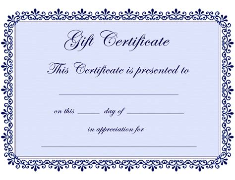 Gift Certificate Template Free Certificate Templates Gift Certificate Template Free