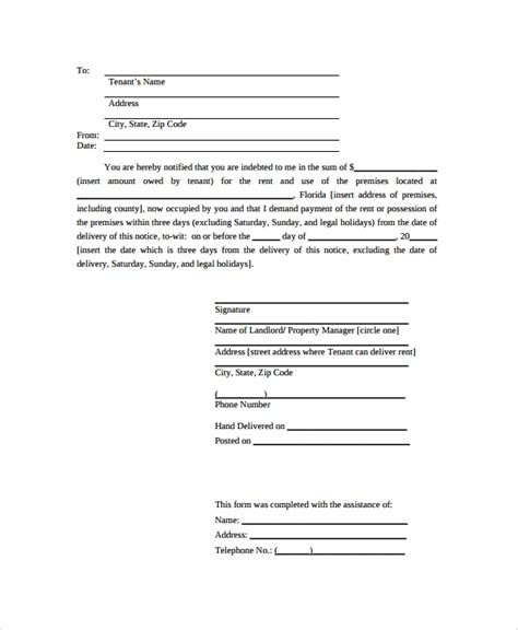 sample notice letter  documents   word