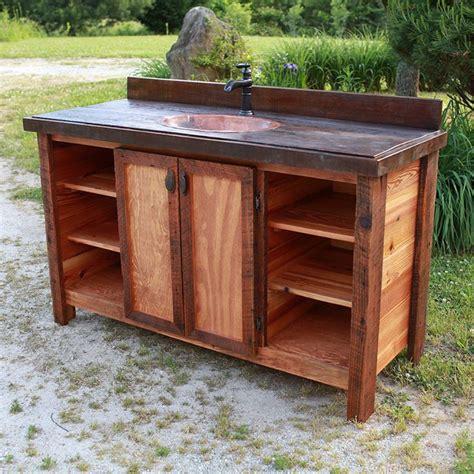 heart pine  antique wood rustic barnwood vanity  copper sink rusticvanity