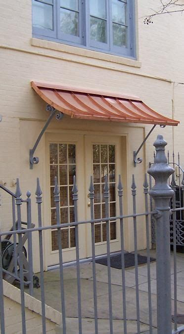 concave copper awning  supports simple  clean copper awning canopy design front