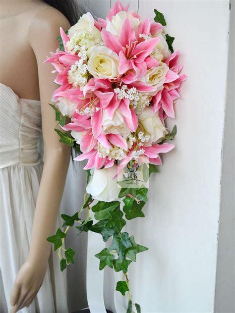 cascading bridal bouquet  wedding  silk flower rose