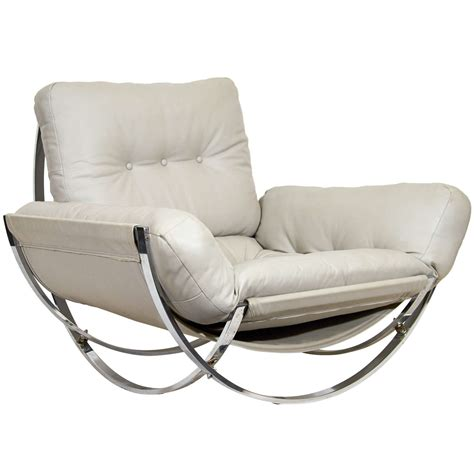 sculptural chrome and leather italian lounge chair for
