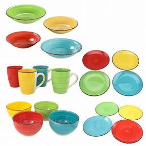 Teller Set Bunt : kombiservice geschirrset tafelservice kaffeeservice porzellan bunt geschirr uni ~ Orissabook.com Haus und Dekorationen