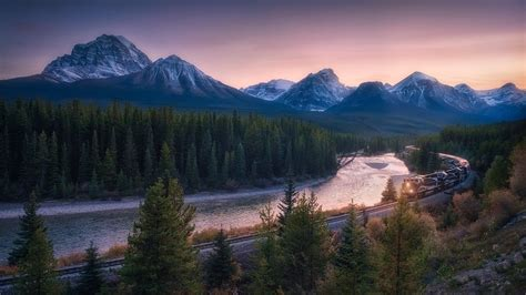 Alberta Banff National Park Canada Mountain Railroad River