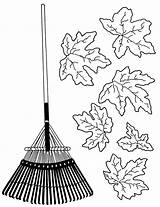 Rake Leaves Raking Coloring Pages Clipart Drawing Sketch Colouring Template Cliparts Getdrawings sketch template