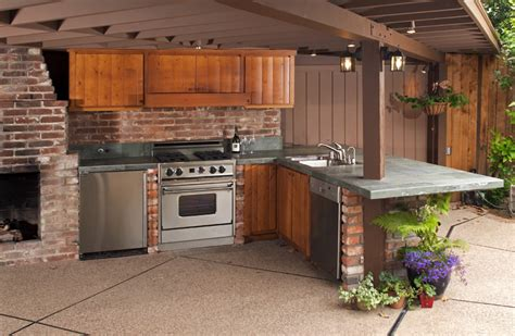 Outdoor Wood Cabinets by 30 Outdoor Kitchen Ideas Designs Picture Gallery