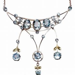 Antique Edwardian Era Aquamarine 14K Gold Pendant Necklace ...