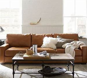 Quick ship turner square arm leather sofa pottery barn for Pottery barn turner sectional sofa