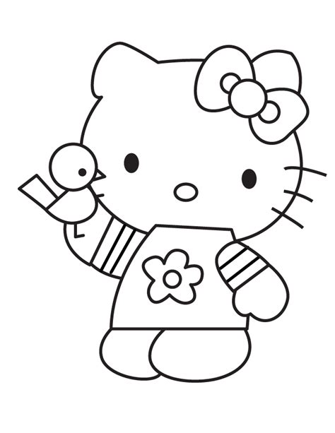 cartoon  kitty holding bird coloring page