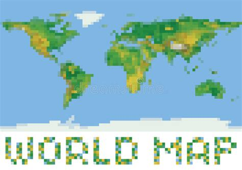 pixel style world physical map with green and stock