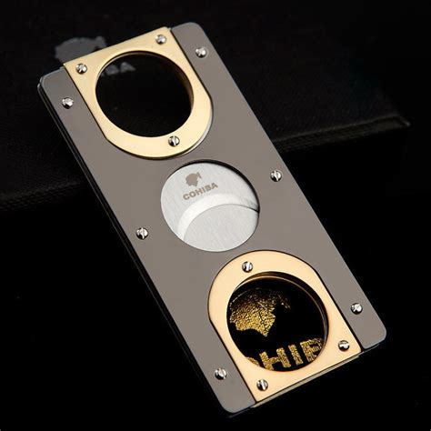 cohiba double blades stainless steel gold plated cigar cutter pocket gadgets zigarre cutter