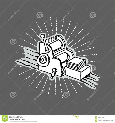print shop logo desktop printing machine stock vector illustration 49817320