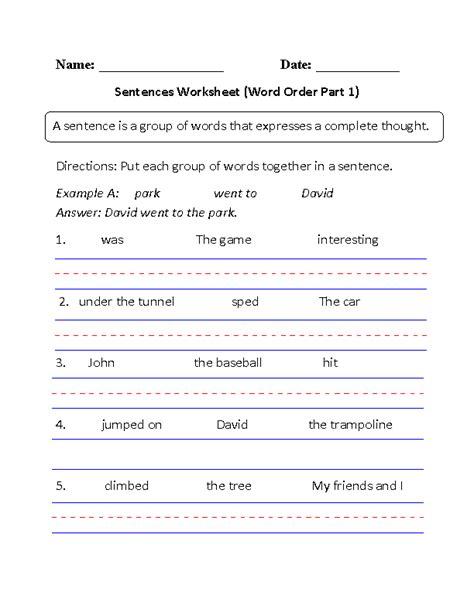 simple sentences worksheet word order part 1 beginner