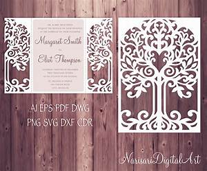 Love tree wedding invitation laser cut pattern card for Laser cut wedding invitations svg