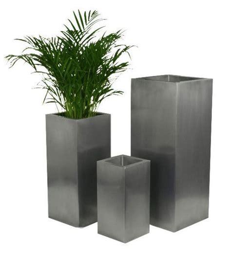 zinc silver steel metal cube planter garden indoor