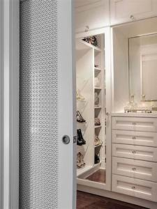 Gorgeous walk-in master closet with pocket slide doors ...