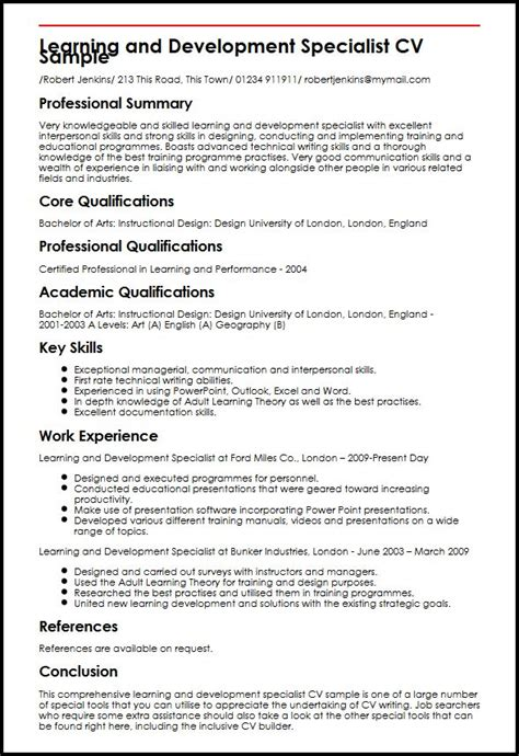 Development Skills Resume by Learning And Development Specialist Cv Sle Myperfectcv