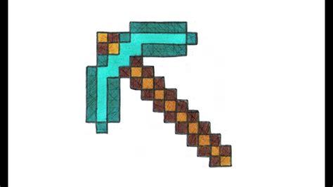 como dibujar  pico de diamante de minecraft paso  paso