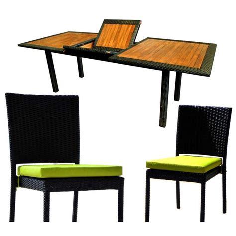 table et chaise de jardin en resine tressee mobilier de jardin en teck et resine tressee ensemble de