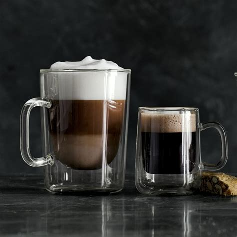 Double Wall Glass Coffee Cups, Set of 2   Williams Sonoma