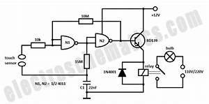 Simple Touch Light Switch Circuit - Control Circuit - Circuit Diagram