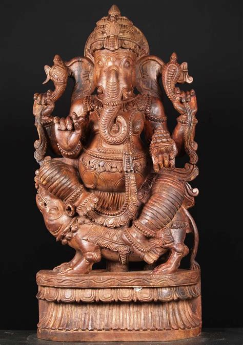 SOLD Large Ganesh Wood Statue Seated on Rat 36