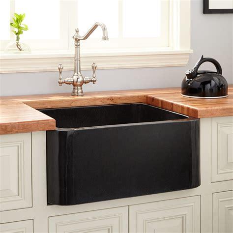 copper drawer 24 quot polished granite farmhouse sink black kitchen