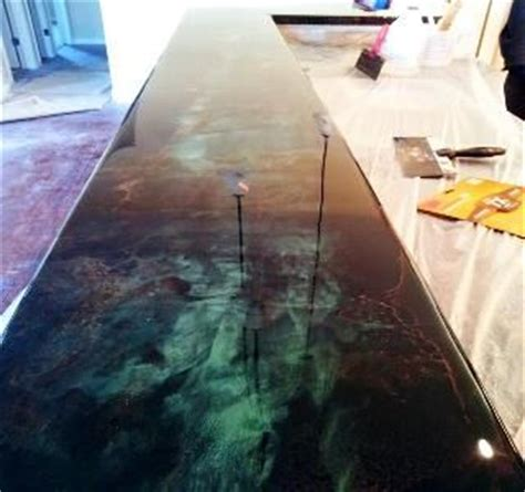 freshly poured countertop installation piece for a